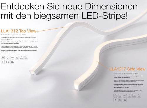 Side View - Flexibler Silikon Outdoor LED Strip - LLA1217/ 9.6W/3000K/IP67